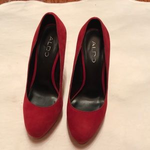 Red Faux Suede Chunky Heel Platform